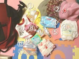 赤ちゃん連れの時のママバッグの中身写真(赤ちゃんケア重視)夏の必需品